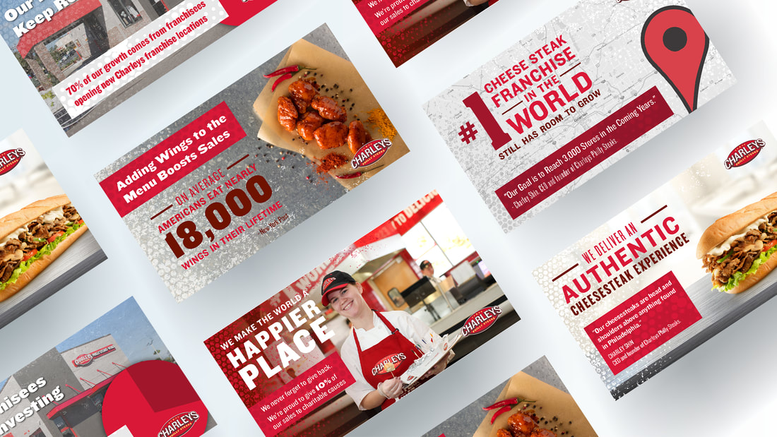 Diagonal grid of Charleys Philly Steaks infographic designs