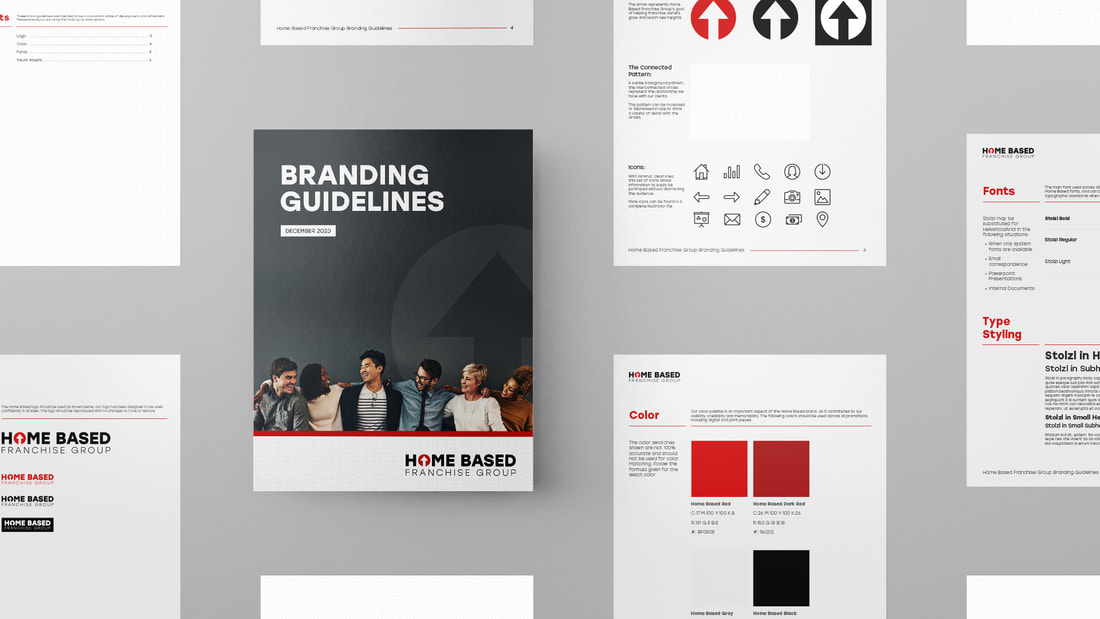 Grid layout of the branding guidelines for Home Based Franchise group
