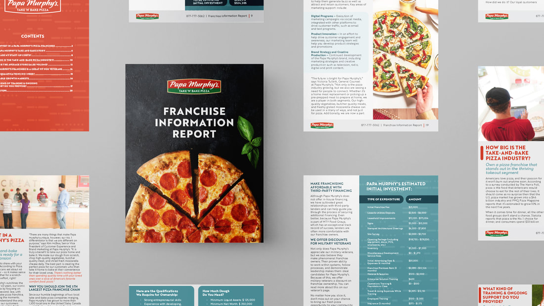 Alternating grid of pieces of paper with franchise information report booklet from Papa Murphy's