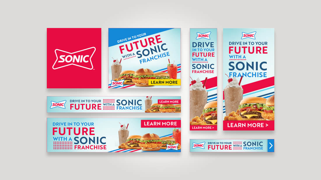 Digital banner ads from Sonic laid out in a grid